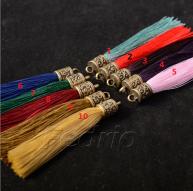 6.5cm Small Silk Tassels with Retro Brass Cap 10pcs/Pack for Bracelets, DIY Home Decor, Jewelry Designs STT001