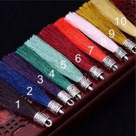 Silk Thread Tassels with Tibetan Silver Cap 10pcs/pack L5098 STT002