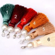 8cm Silk Tassels with Pearl and Metal Hook Buckle 10pcs for Bracelets, DIY Home Decor, Jewelry Designs STT003