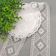 White Mesh Rhombic Embroidered Lace Trim 15yards 009363