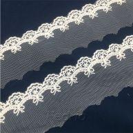 White Flower Shape Eyelet Embroidered Lace Trim 15yards 009367