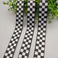 Black & White Check Jacquard Ribbon Trim 1yard 009366