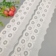 White Circle 100% Cotton Embroidered Lace Trim 15yards 009369