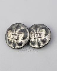 Antique Nickel Silver Fleur De Lis Metal Buttons for Jeans
