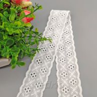 White Cotton Four Clovers Eyelet Embroidered Lace Trim 15yards 009361