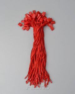 Red Polyester Hang Tag Band Braided String with Plastic Single Plug Square Snap Lock Fastener 1000pcs/pack HTS210
