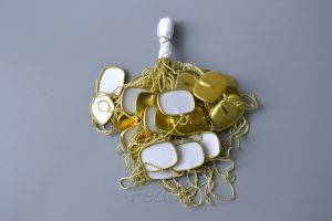 Hang Tag Polyester String with Aluminum Square Single Plug and Fastener gold/green/silver 1000pcs/pack HTS230